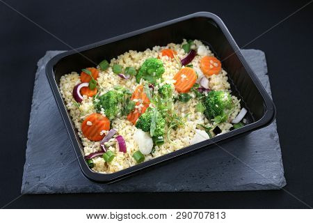 Dietary Catering, Rice With Vegetables Packed In A Box.