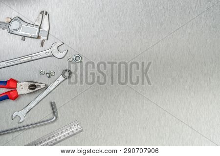 Tools On A Metal Background With Copy Space