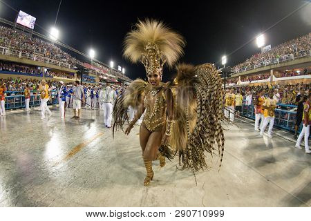 Rio, Brazil - March 02, 2019: Estacio De Sa During The Carnival Samba School Carnival Rj. Highlight