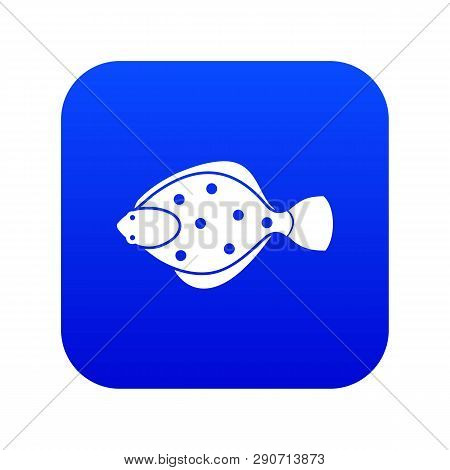 Flounder Fish Icon Digital Blue For Any Design Isolated On White Vector Illustration