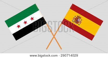 Spain And Syria Interim Government. The Spanish And Syrian Flags. Official Proportion. Correct Color