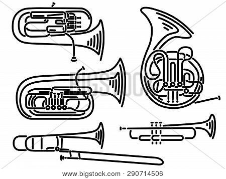 Set Of Simple Brass Wind Musical Instruments Trumpet ,tuba, Trombone, Euphonium, French Horn Drawn B