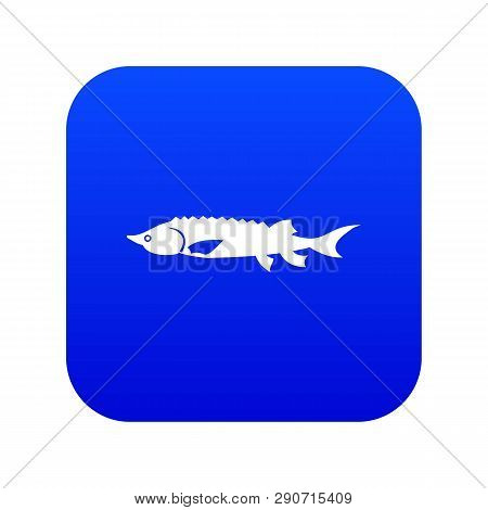 Fresh Sturgeon Fish Icon Digital Blue For Any Design Isolated On White Vector Illustration