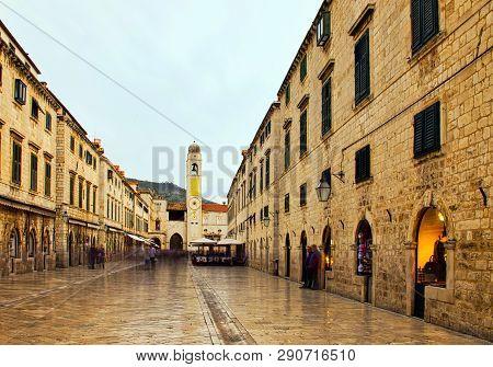 Dubrovnik, Dalmatia, Croatia - October 26: Main Square In Old Town On October 26, 2016 In Dubrovnik,