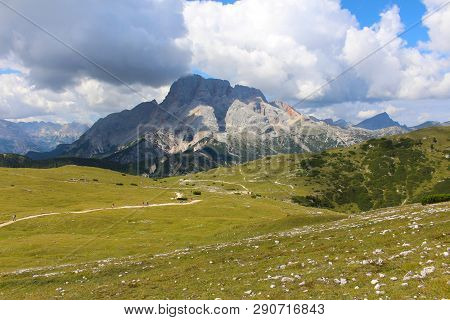 Mountain Landscape Of The Dolomites Near Prato Piazza, In The Val Pusteria, Dolomites, Italy