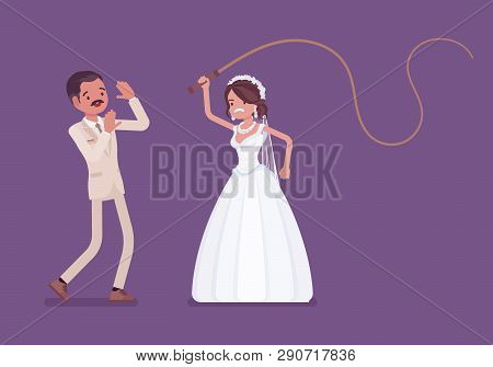 Bride Flogging Or Beating Groom With Whip. Latin American Unhappy Man Oppressed By Woman, Traditiona