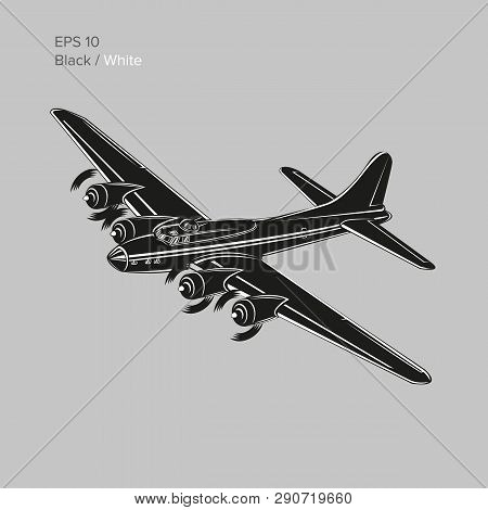 Vintage World War 2 Legendary Heavy Bomber. Old Retro Piston Engine Propelled Heavy Aircraft. Vector