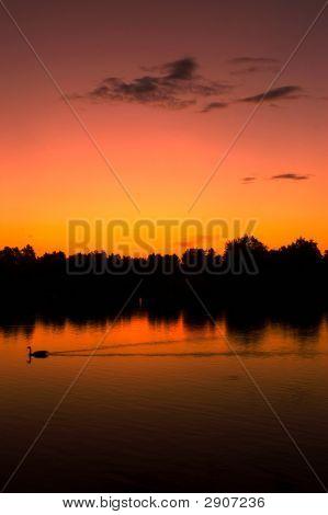 Orange Sunrise On A Lake