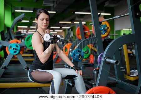 Beautiful Fitness Woman Lifting Barbell. Sporty Woman Lifting Weights. Fit Girl Exercising Building