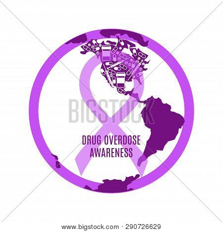 Drug Overdose Awareness Day Concept With Purple Ribbon