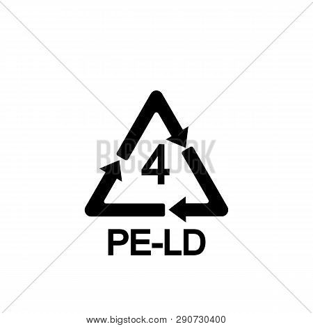 Plastic Recycling Symbol Ldpe 4, Resin Identification Code Low-density Polyethylene, Vector Illustra