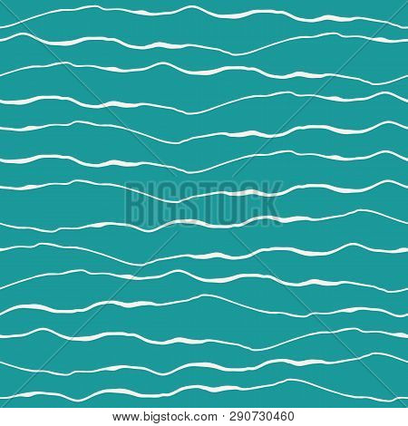 Abstract Ocean Wave Design With Hand Drawn White Doodle Lines On Turquoise Background. Seamless Vect