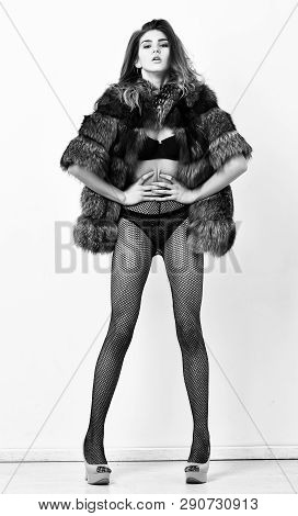 Woman Seductive Model Wear Luxury Fur And Elite Lingerie. Could Be Yours. Girl You Dream About. Fash
