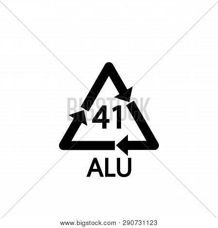 Aluminium Recycling Symbol Alu 41 . Vector Illustration. Flat