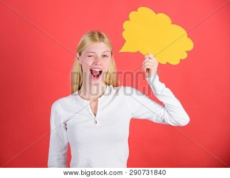 Fresh Idea. Hint And Allude Concept. Ideas And Thoughts Copy Space. Girl With Speech Bubble. Thought