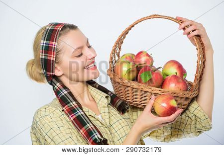 Grocery Store. Perfect Apple. Start Apple Diet. Woman Likes Natural Fruits. Farmer Gardener Apple Ha