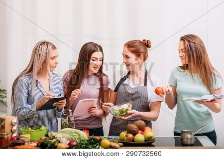 Female Cooking Classroom. Healthy Eating Habit. Dieting Together. Food And Nutrition Tutoring.