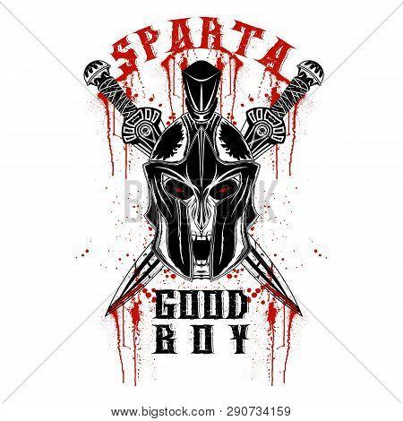 Vector Drawing Of A Fantasy Skull In The Greek Helmet Against Bloody Swords. Inscription - Sparta An