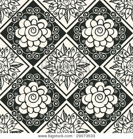 seamless sketchy background, vector abstract floral poster