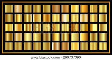 Set Of Gold  Gradient. Golden Shiny Metallic Texture, Luxury Decoration, Shiny Vector Background For