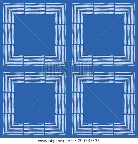 Hand Drawn Textured Brush Stroke White Squares In Geometric Design. Seamless Vector Pattern On Blue