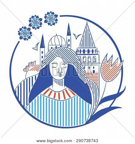 Istanbul City Promotion Vector Illustration With Galata Tower, Turkish Tulip And A Girl. Istanbul Tr