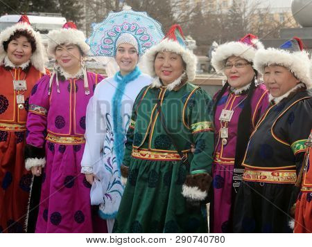 Ulan-ude, Russia, March 10, 2019: The Celebration Of The Maslenitsa Shrovetide In The City. Women In