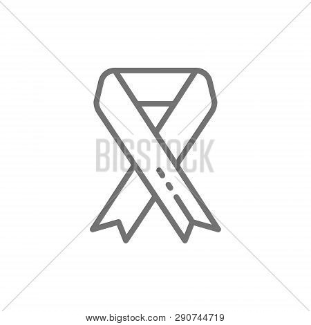 Breast cancer ribbon, malignant tumor, oncology, donation, volunteering line icon. poster