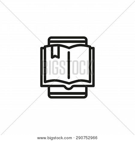 Book Reader Line Icon. E-reader, Electronic Book, Online Learning. E-learning Concept. Vector Illust