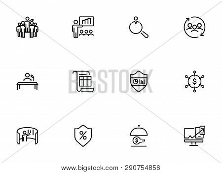 Insurance Line Icon Set. Leadership, Presentation, Shield. Business Concept. Can Be Used For Topics