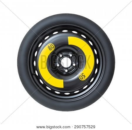 Spare wheel isolated on white, including clipping path