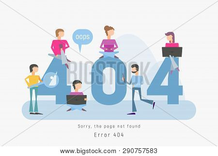 404 Error Page Concept. File Not Found For Webpage. Website Maintenance Error Banner With People Who