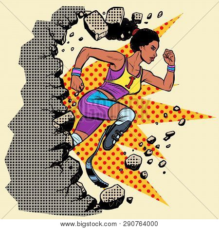 Breaks The Wall Disabled African Woman Runner With Leg Prostheses Running Forward. Sports Competitio