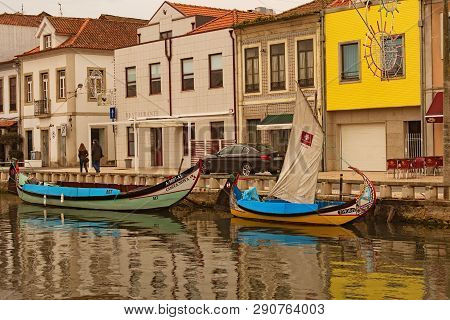 Aveiro, Portugal- December 31, 2015: Typical Landscape View Of Ancient City Aveiro. Moored Colorful