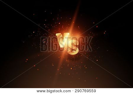 Creative Background, Golden Versus Logo, Letters For Sports And Wrestling. Game Concept, Competition