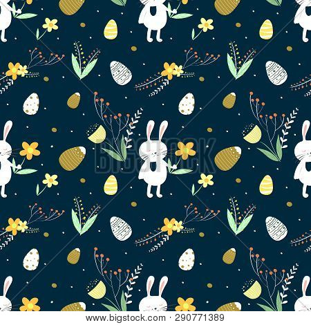 Easter Vector Pattern With Bunny, Eggs, Leaves And Flowers On A Dark Background. Surface Pattern For