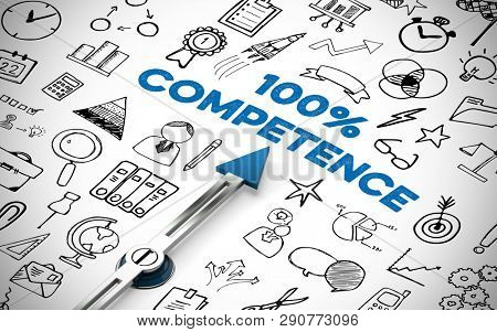 Competence concept with compass arrow pointing to the lettering 100% Competence and icons (3D Rendering)