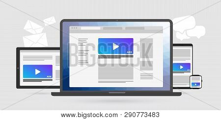 Online Advertising In Laptop And Mobile Device - Programmatic Advertising Cross Targeting Ads Concep