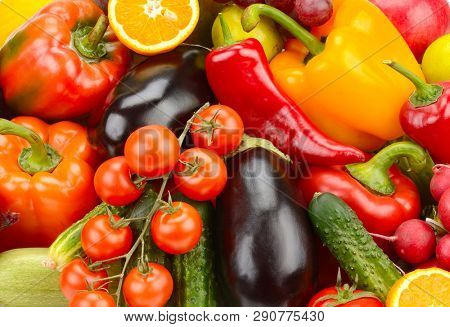 Background from fresh vegetables and fruits.