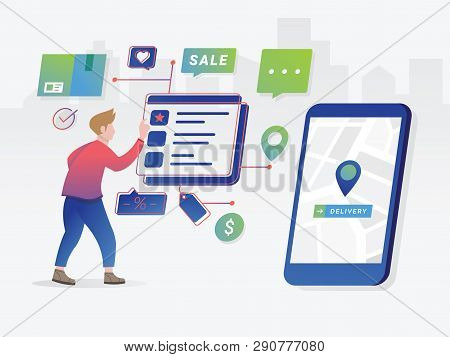 Commercial Checkout Pay. Online Shopping Concept Illustration. Modern Flat Design People And Busines