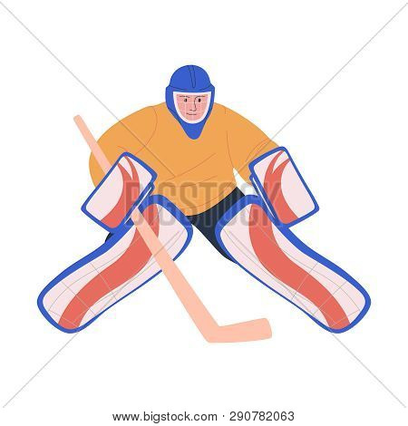 Ice Hockey Adult Male Player As Goaltender. Isolated Flat Vector Illustration With Man In Hockey Uni