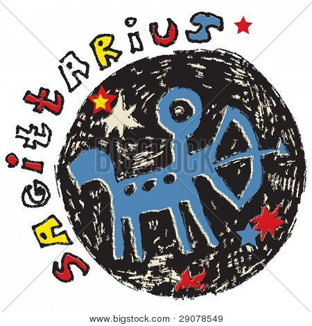 hand drawn sign of the zodiac sagittarius isolated on white background