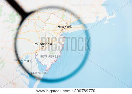 Los Angeles, California, Usa - 15 March 2019: New Jersey, Nj State Of America Visualization Illustra