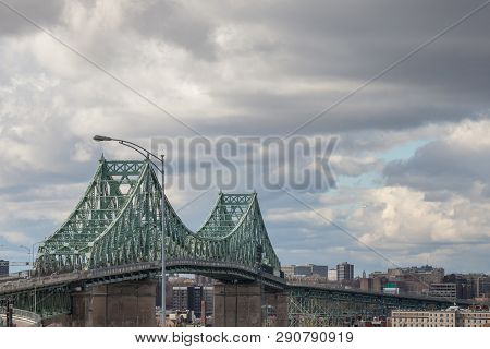 Pont Jacques Cartier Bridge Taken In Longueuil In The Direction Of Montreal, In Quebec, Canada, Duri