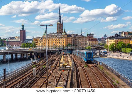 Stockholm, Sweden - June 2016: Railway Tracks And Trains Near Stockholms Main Train Station In Norrm