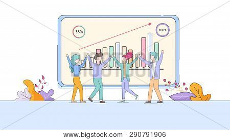 Joyful Office Workers Exulting At Huge Monitor With Growing Graphs. Happy Employees People In Workpl