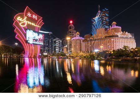 Macau, China - October 14, 2017: Night View Of Macau (macao). The Grand Lisboa Is The Tallest Buildi