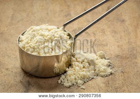 measuring metal scoop of whey protein powder against textured bark paper