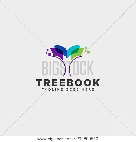Tree, Plant And Flower Book Education Line Logo Template Vector Illustration Icon Element