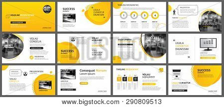 Presentation And Slide Layout Background. Design Yellow And Orange Gradient Geometric Template. Use